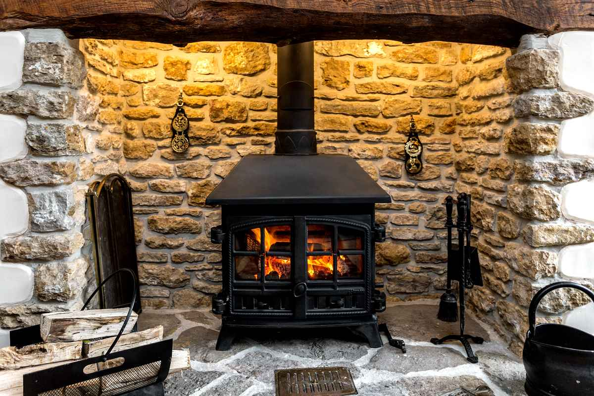 Roaring log fire in cottage
